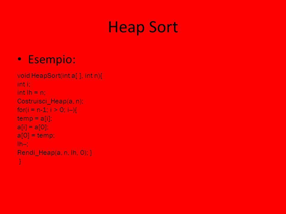 Heap Sort Esempio: void HeapSort(int a[ ], int n){ int i; int lh = n;